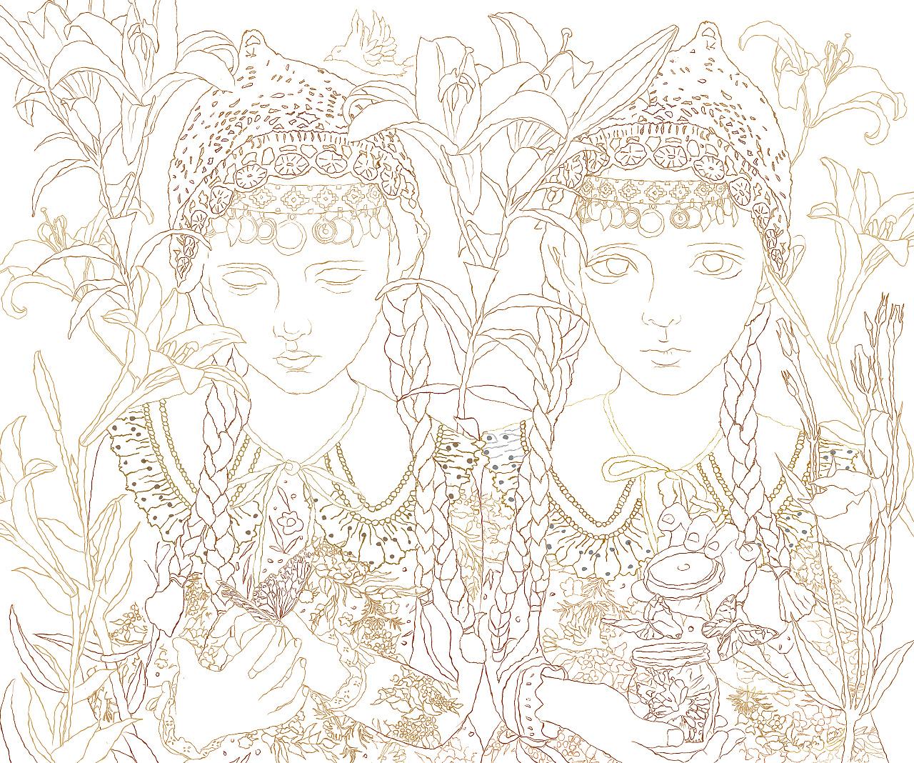 《双生》古典儿童系列二 综合画(手绘)