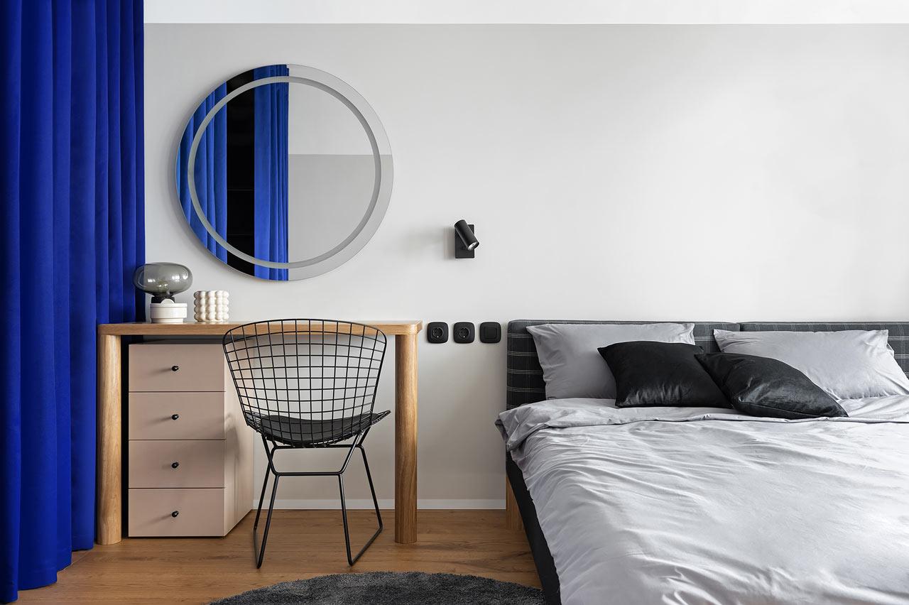 NEEN DESIGN | 被蓝色窗帘隔开的65m²紧凑公寓