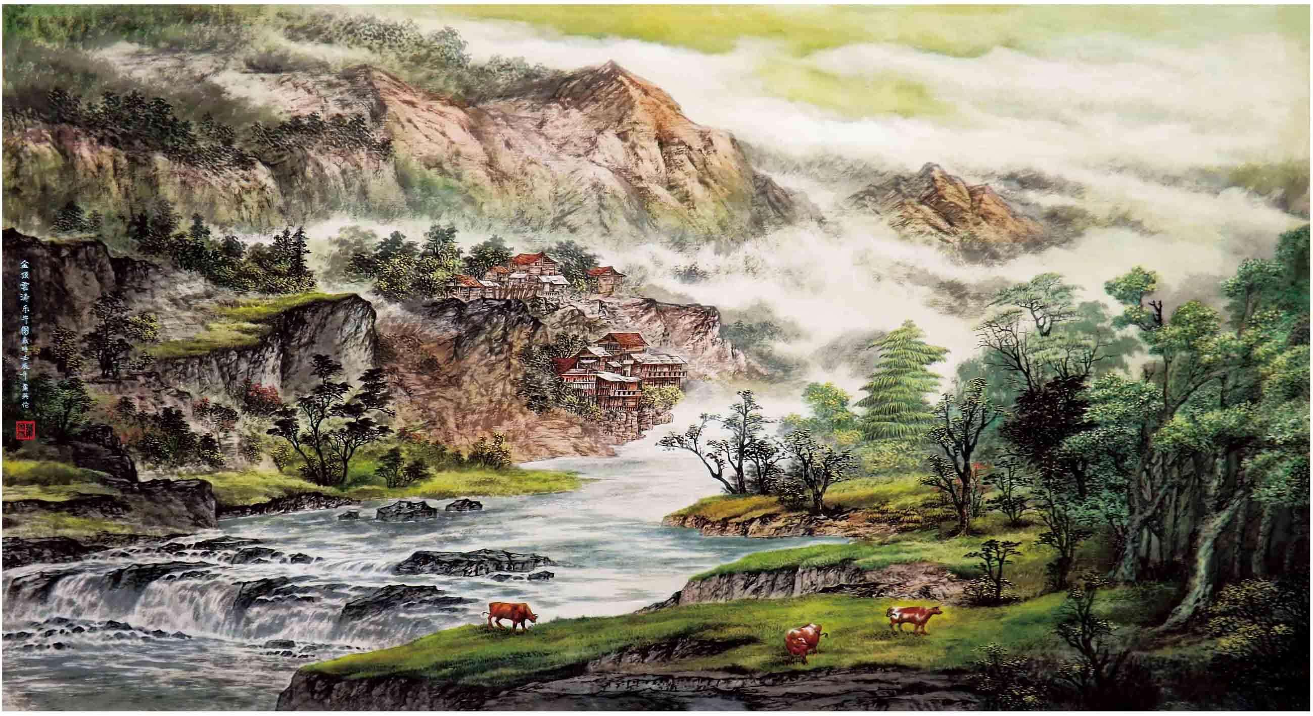 《金顶云涛乐牛图》叶英伦原创写实景色代表作品