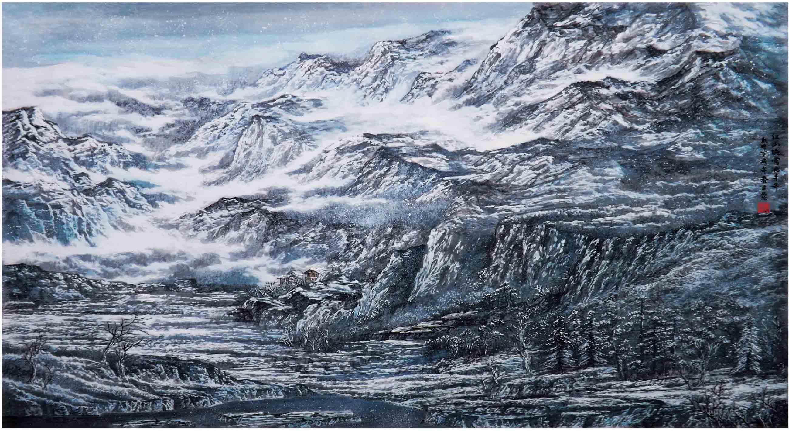 《江山晓雪兆丰年》叶英伦原创写实景色代表作品