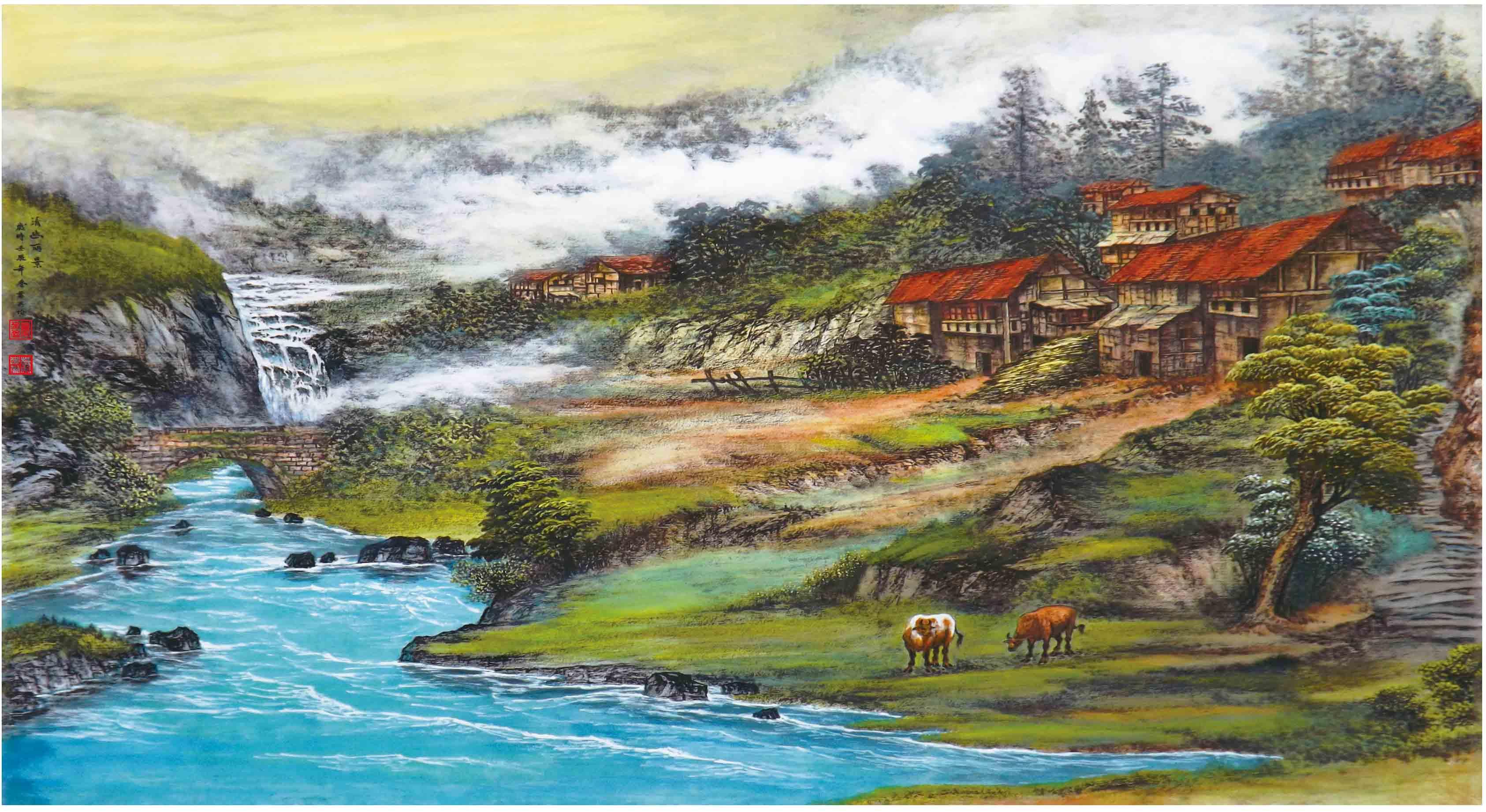 《清幽丽景》叶英伦原创写实景色代表作品
