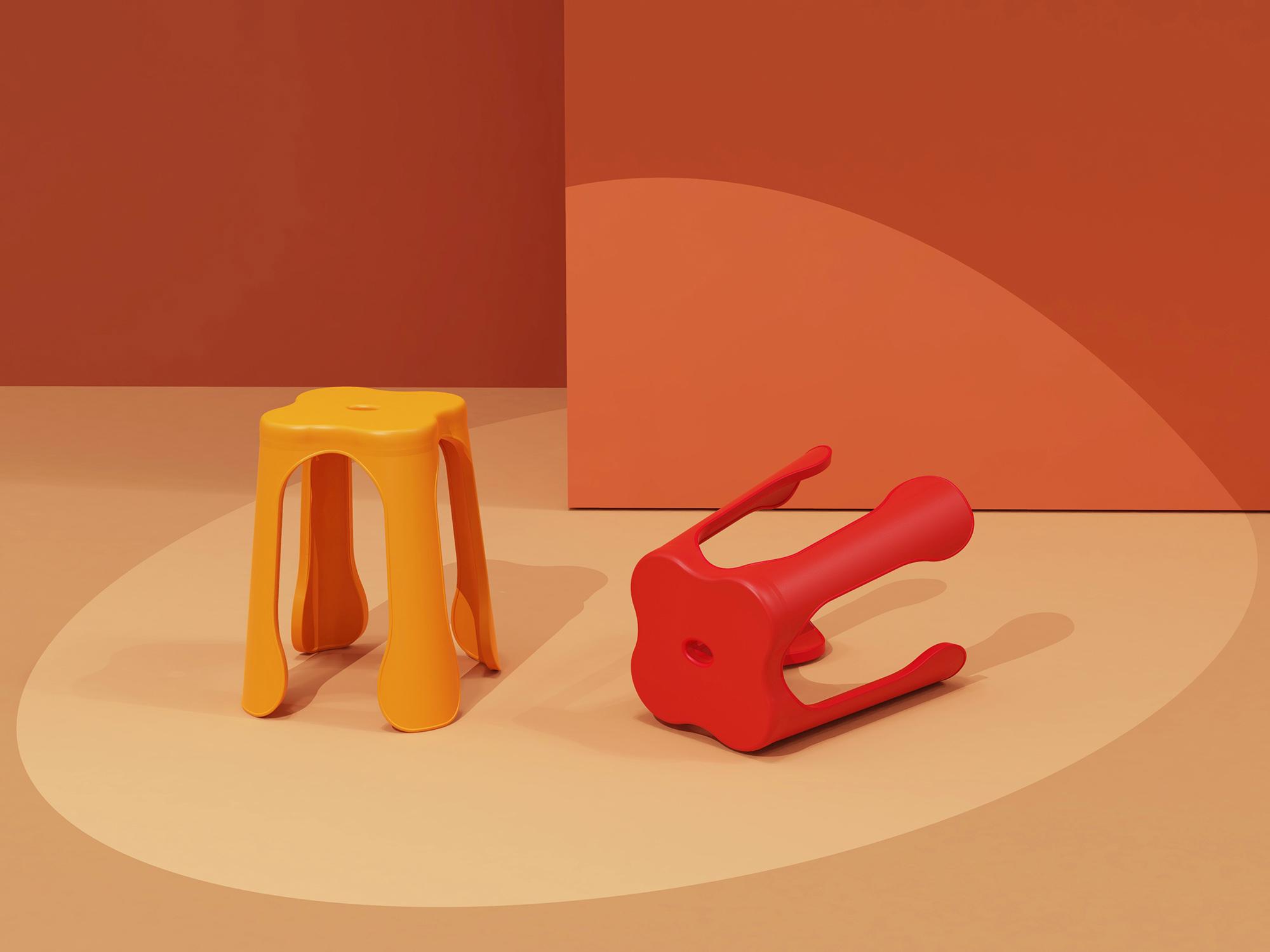 凳子-小红花