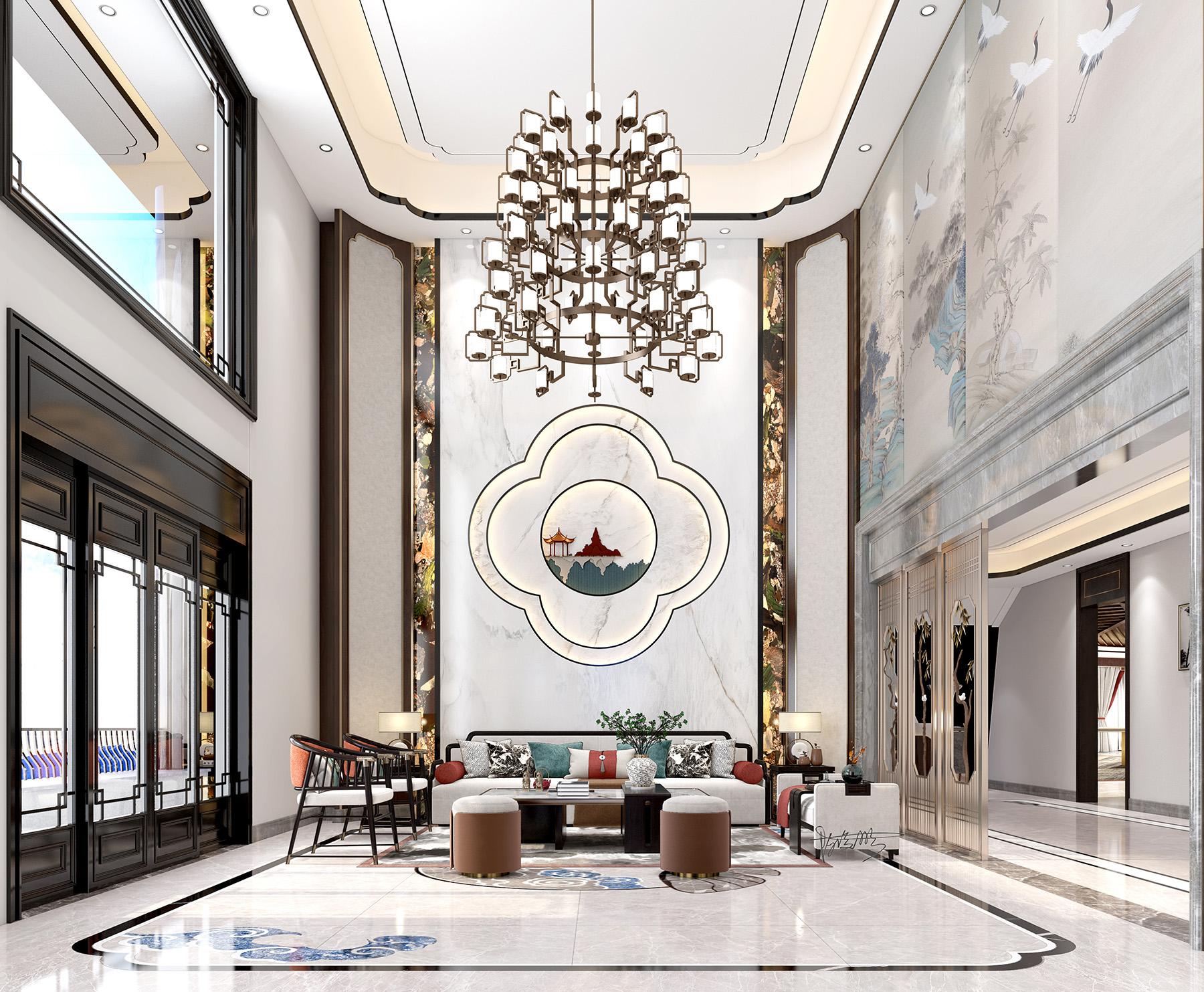 室外清约苏式园林/搭配室内内饰新中式整体别墅改造